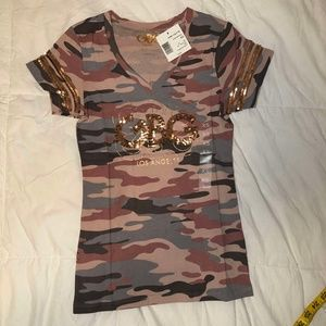 XS G By Guess V-Neck Tee-SequinJersey Style -#B21